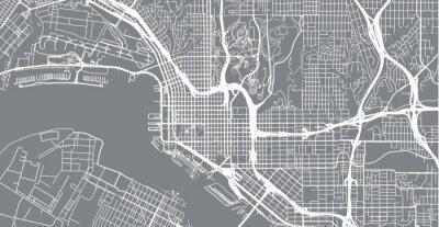 Väggdekor Stadsvektorstadskarta över San Diego, Kalifornien, USA