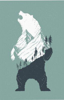 Väggdekor Stående björn illustration