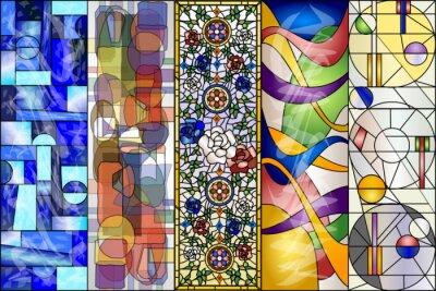 Väggdekor Stained Glass Abstrakt Vintage och Modern Design Vector Kit