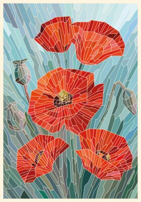 Väggdekor Stained Glass Flowers Poppies on a gray turquoise background. Light lines. Vector full color graphics