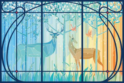 Väggdekor Stained glass pair of deer in the spring forest in Art Nouveau frame. Vector graphics