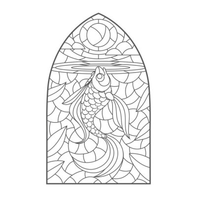 Väggdekor stained glass window with goldfish , vector graphic to design