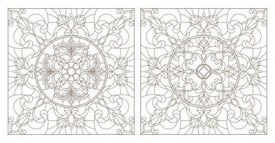 Väggdekor Ställ konturillustrationer av färgat glas med abstrakta virvlar och blommor, kvadratisk bild