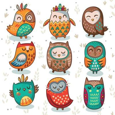 Väggdekor Stam- owl vektor uppsättning