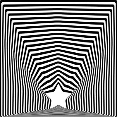 Väggdekor Star svarta ränder optisk illusion bildkonst effekt.