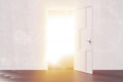 Väggdekor Starkt ljus från den öppna dörren till tomt rum