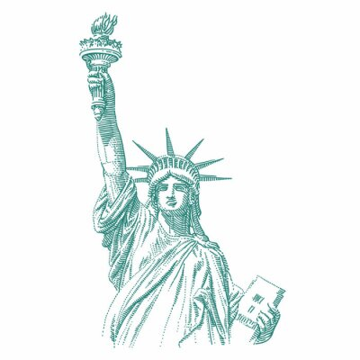 Väggdekor Statue of Liberty engraving style illustration. Engraved style drawing. Vector.