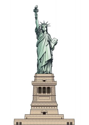Väggdekor Statue of Liberty on its base pedestal. Vector illustration