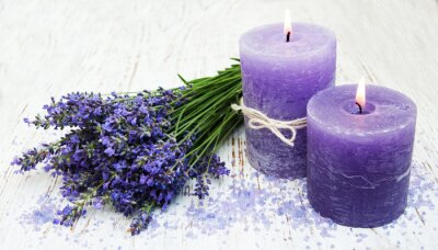 Väggdekor stearinljus, lavendel och havssalt