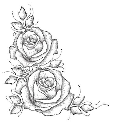 Väggdekor Stem med prickade ros blommor och blad isolerad på vit bakgrund. Blommiga inslag i dotwork stil.