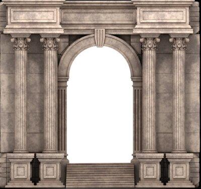 Väggdekor Sten steg och Entry Way Med korintiska kolonner. 3d.