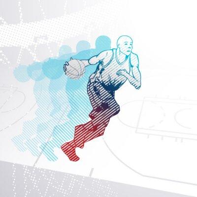 Väggdekor Stiliserade basketspelare dribbla bollen