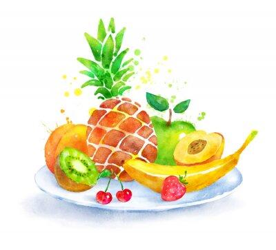 Väggdekor Stilleben med frukt på plattan.