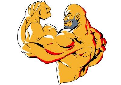 Väggdekor stora biceps, illustration, färg, logotyp, isolerad på en vit