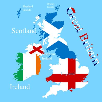 Väggdekor Storbritanniens karta för varje land flagga
