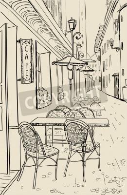 Väggdekor Street café i gamla stan skiss illustration.