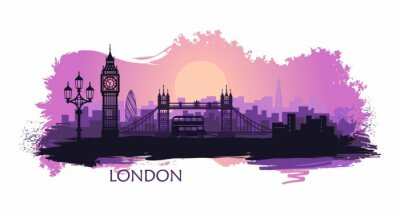 Väggdekor Stylized landscape of London with big Ben, tower bridge and other attractions