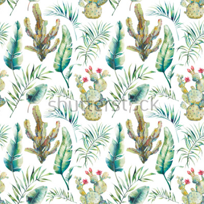 Väggdekor Summer palm tree, cactus and banana leaves seamless pattern. Watercolor green branches and flowering succulent on white background. Exotic wallpaper design