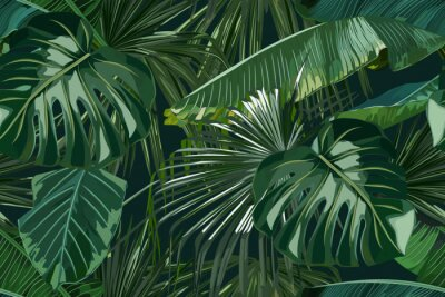 Väggdekor Summer seamless pattern with tropical palm leaves. Jungle fashion print. Hawaiian background. Vector illustration