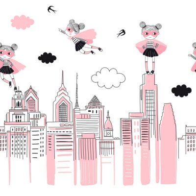 Väggdekor Supergirls cartoon characters in the city fly above and stand on buildings. Girlish Superhero themed seamless border pattern. Vector doodle graphics. Perfect for little girl design like t-shirt