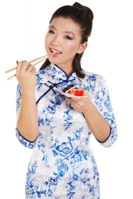 Väggdekor Sushi kvinna sushi med pinnar