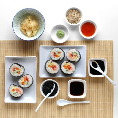 Väggdekor Sushi rullar, soja, ingefära och wasabi
