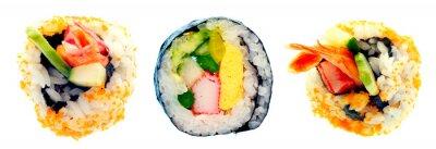 Väggdekor Sushi rulle med ris isolerade på vit bakgrund