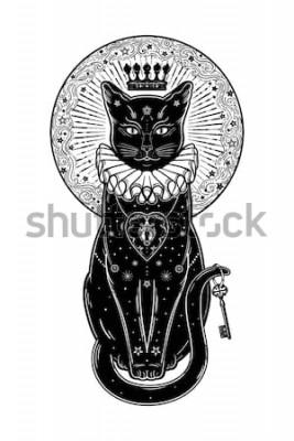 Väggdekor Svart kattkonturstående med hemlig tangent i månens bakgrund. Perfekt Halloween-bakgrund, tatueringskonst, boho-design. Perfekt för tryck, affischer, t-shirts, textilier. Vektorillustration.