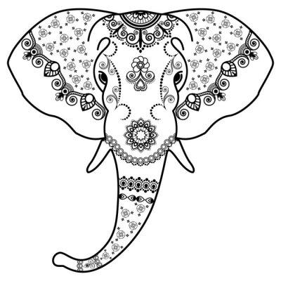 Väggdekor Svart och vit elefant huvud i Mehndi Indiska style.Vector illustrationen isolerade på vit bakgrund
