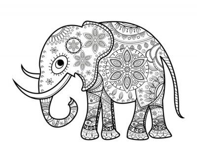 Väggdekor Svart och vitt dekorerade elefant på vitt, Elefante decorato vettoriale da colorare, SU sfondo bianco