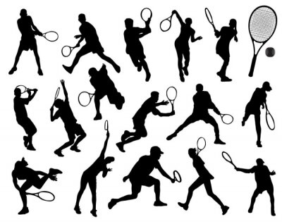 Väggdekor Svarta silhuetter av tennisspelare, vektor