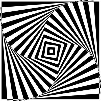 Väggdekor Svartvita optiska illusionen vektorillustration.