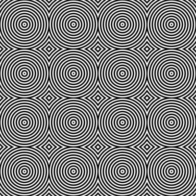 Väggdekor Svartvitt Psychedelic cirkulär Textilen mönstrar.