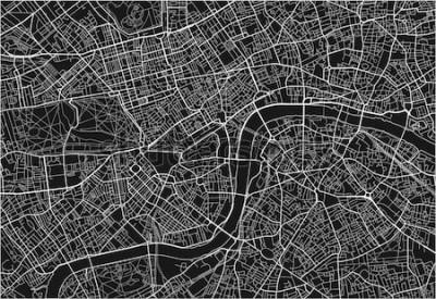 Väggdekor Svartvitt vektor stadskarta över London med välorganiserat skilda lager.