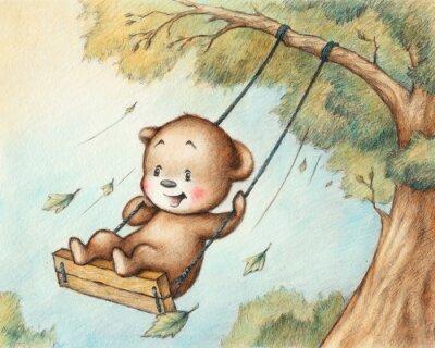 Väggdekor Swinging Teddy Bear