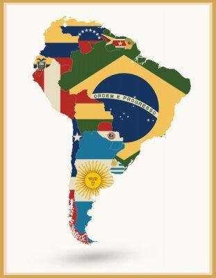 Väggdekor Sydamerika Karta med flaggor och Vintage färger