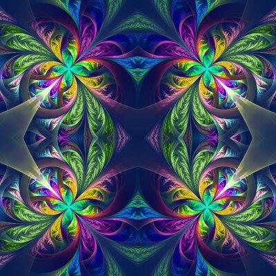 Väggdekor Symmetrisk flerfärgad fractal traceryen. Samling - frostig patt
