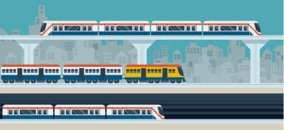 Väggdekor Tåg, Sky tåg, tunnelbana, illustrationen objekt