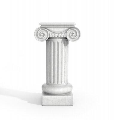 Väggdekor Tall doriska kolumn pelare Isolerad på vit bakgrund. Piedestal.