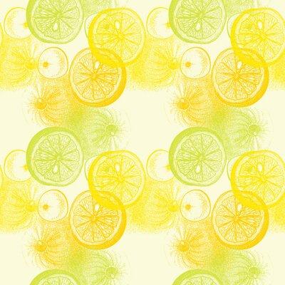 Väggdekor Tapeter seamless med handritad apelsiner citrus. Drawi