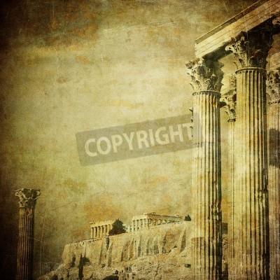 Väggdekor Tappning avbildar av grekiska kolonner, Akropolis, Aten, Grekland