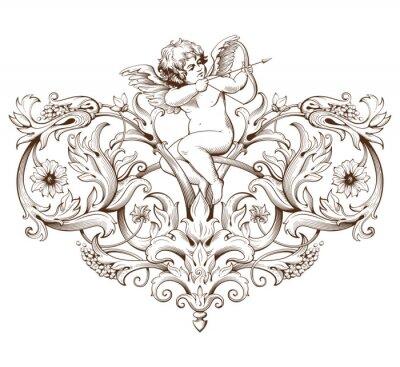 Väggdekor Tappning dekorativt element gravyr med barock prydnad och Amor