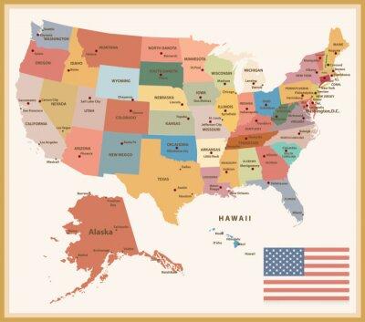 Väggdekor Tappning Färg Politisk karta över USA
