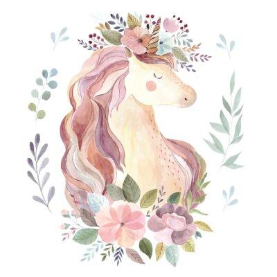 Väggdekor Tappning illustration med söt unicorn och blomkrans