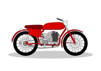 Väggdekor tappning motorcykel illustration på vitt
