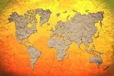 Väggdekor tappning världskarta med Röd bakgrund