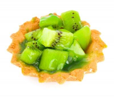 Väggdekor Tårta med frukt kiwi isolerad på vitt