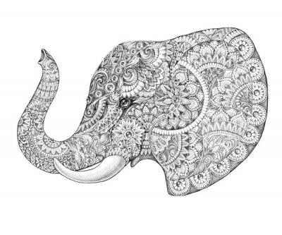 Väggdekor Tatuering profil elefant med mönster och ornament