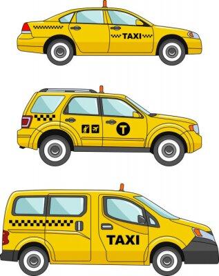 Väggdekor Taxi bil på en vit bakgrund i en platt stil