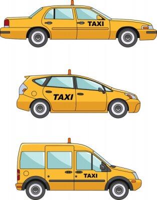 Väggdekor Taxi bil på en vit bakgrund i platt stil